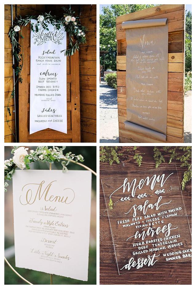 menu del matrimonio